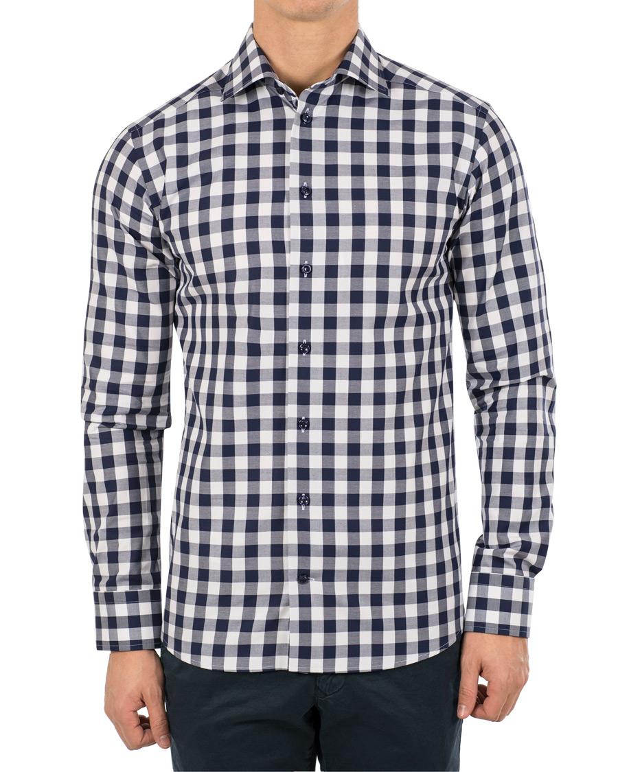 Eton slim fit signature twill check shirt white blue hos for Slim fit check shirt