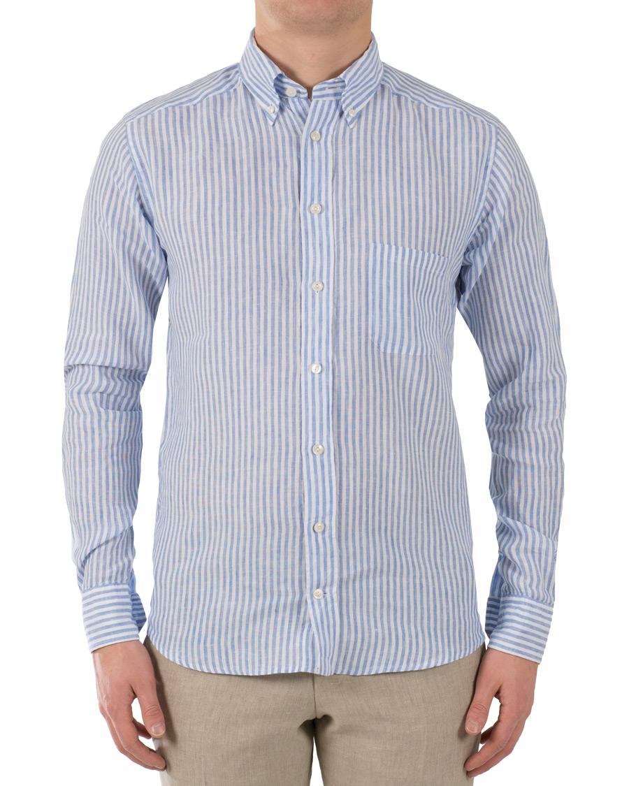 Eton slim fit linen button down shirt white blue hos for Slim fit white button down shirt