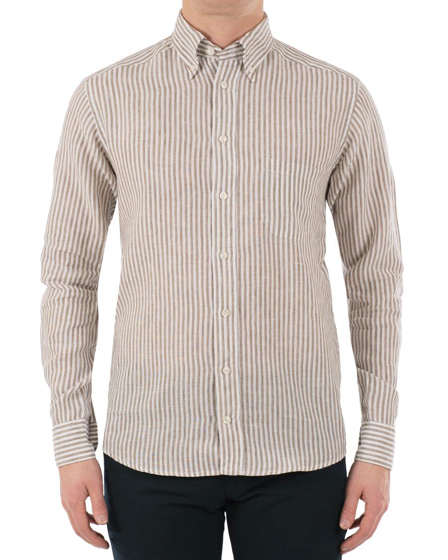 Eton slim fit linen button down shirt white brown hos for White shirt brown buttons