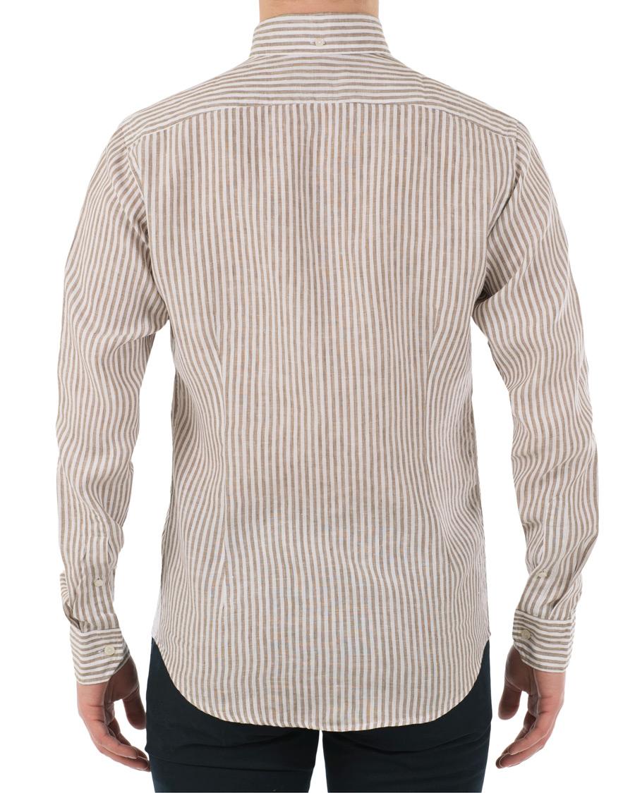 Eton slim fit linen button down shirt white brown hos for Slim fit white button down shirt