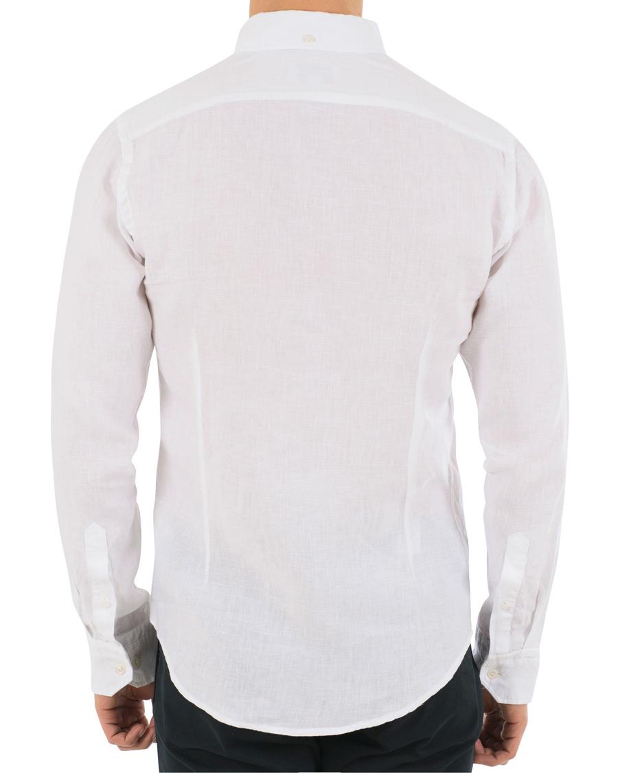 Eton slim fit linen button down shirt white hos for Slim button down shirt