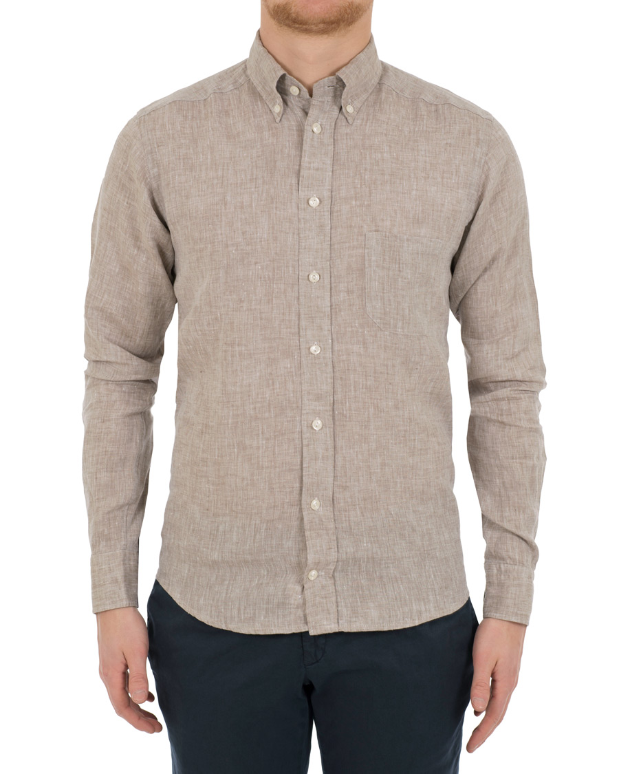 Eton slim fit linen button down shirt off white brown hos for White shirt brown buttons