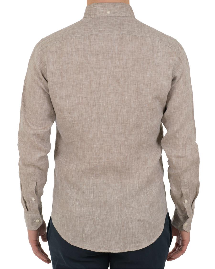 Eton slim fit linen button down shirt off white brown hos for Slim fit white button down shirt