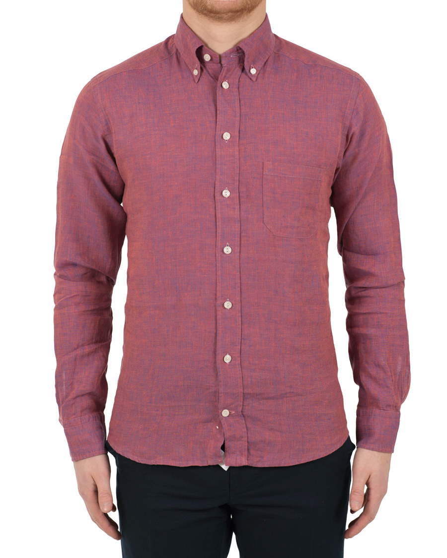 Eton slim fit linen button down shirt pink red hos for Athletic fit button down shirts