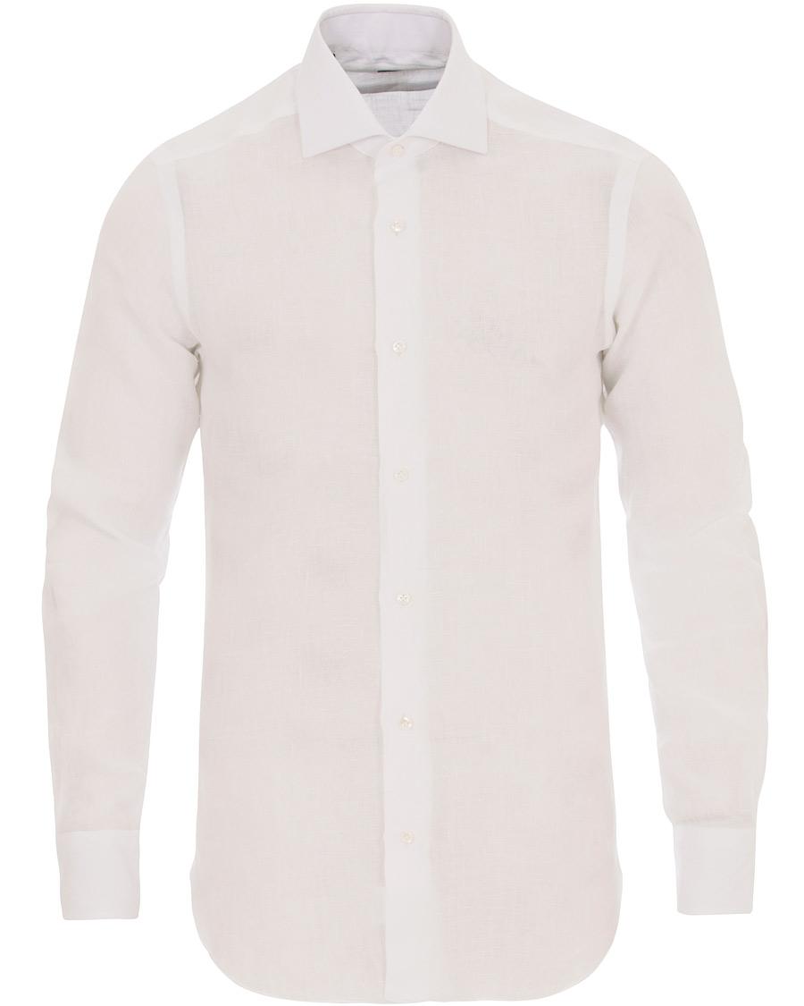 Barba napoli napoli slim fit linen shirt white hos for Slim fit white linen shirt