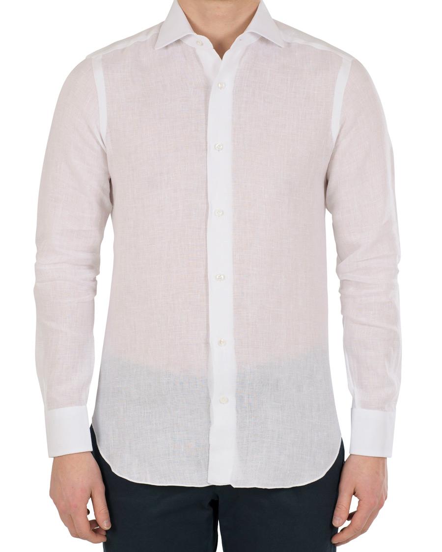 Barba Napoli Napoli Slim Fit Linen Shirt White Hos