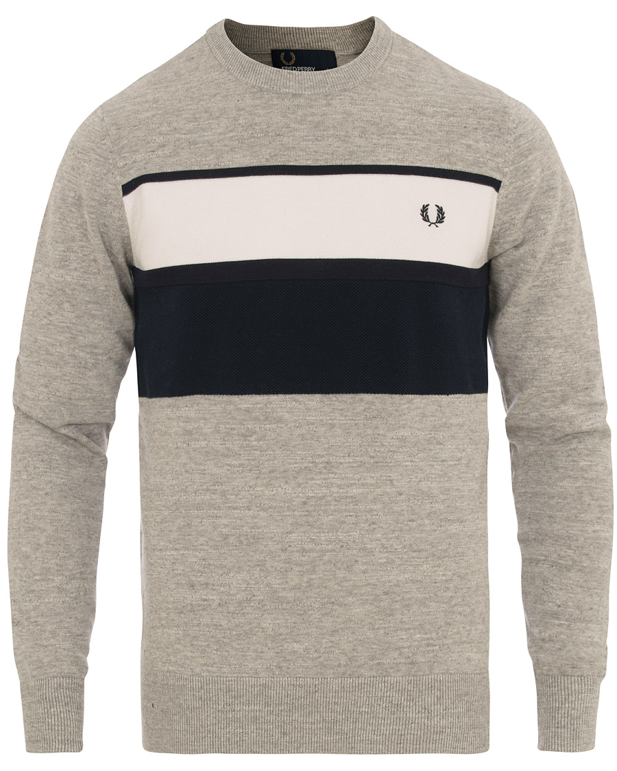 fred perry textured pannel knitted pullover stone marl hos. Black Bedroom Furniture Sets. Home Design Ideas