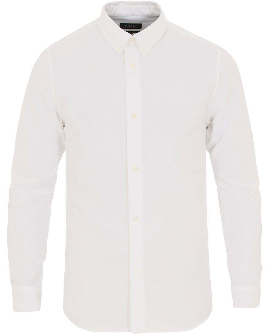 A p c button down oxford shirt white hos for White button down oxford shirt
