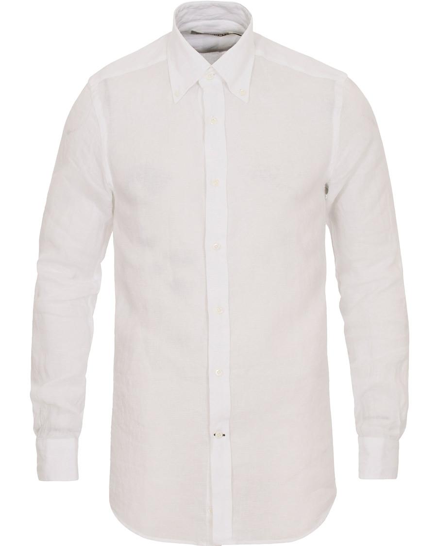 Morris heritage slim fit button down linen shirt white hos for Slim fit white linen shirt