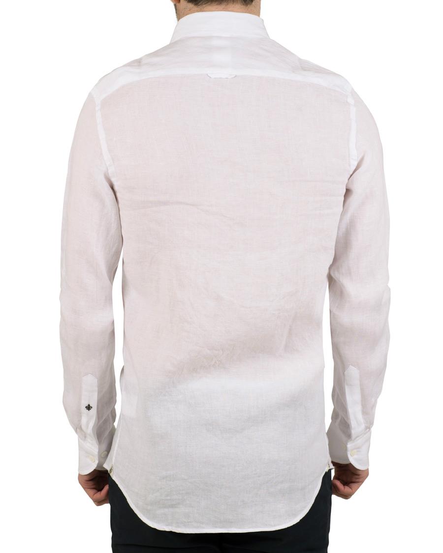 Morris Heritage Slim Fit Button Down Linen Shirt White Hos