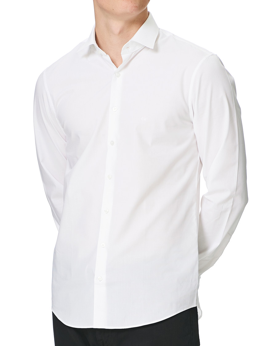 Calvin klein bari slim fit stretch poplin shirt white hos for Calvin klein slim fit stretch shirt