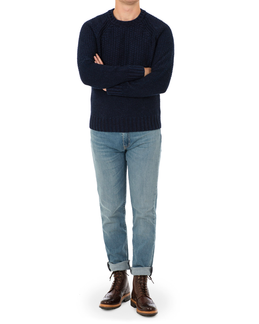 Levi 39 s made crafted fisherman sweater indigo blue hos for Levi s made and crafted