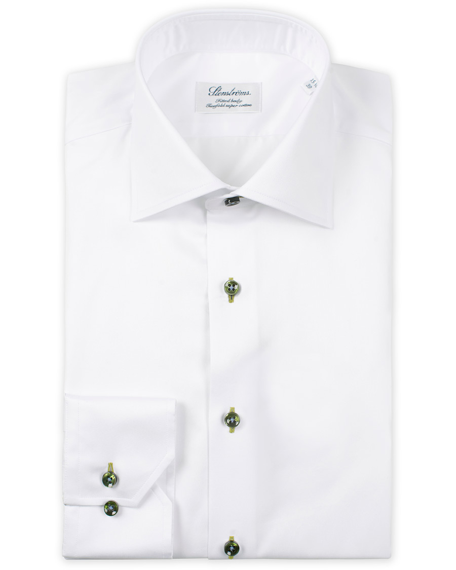 Stenströms Fitted Body Twill Shirt White hos CareOfCarl.com 90773b754d498
