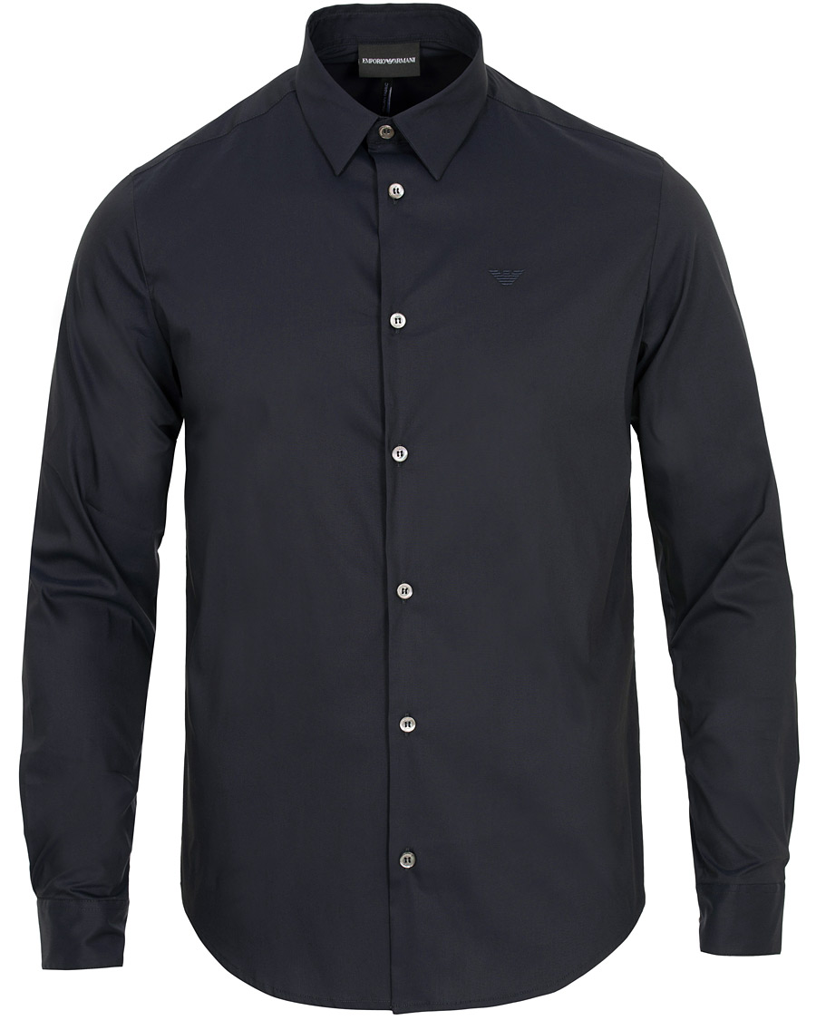 Emporio armani casual slim fit shirt navy hos for Navy slim fit shirt